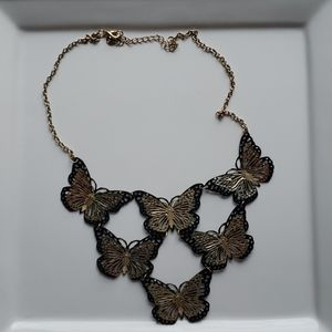 Black and Gold Coloured Butterfly Necklace